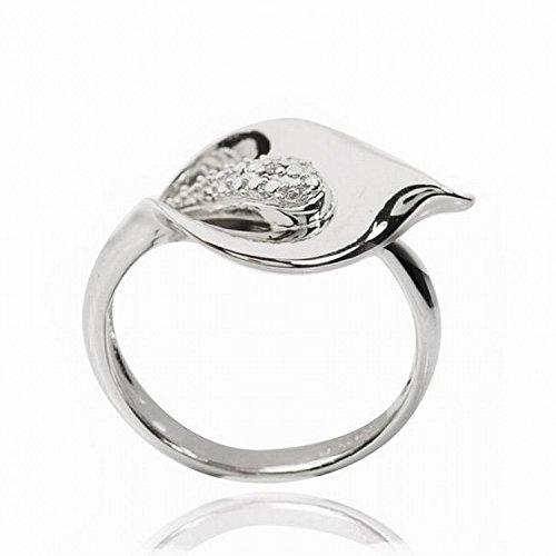 - De Buman 925 Silver White Diamond Accents Calla Lily Ring (0.005ct, F-G Color, I1-I2 Clarity) (Size 8)