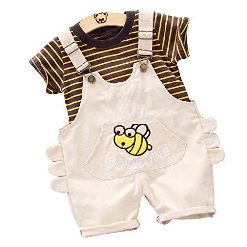 SIN vimklo Baby Short Sleeve Striped T-Shirt Tops Cartoon Suspender Pants Set Beige