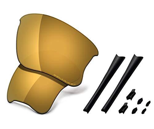 Saucer Premium Replacement Lenses & Rubber Kits for Oakley Flak Jacket XLJ Sunglasses High Defense - Bronze Gold Polarized