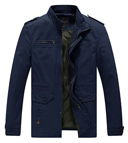 Lega Mens Lightweight Cotton Coat Stand Collar Military Windbreaker Jacket(Navy,US M)