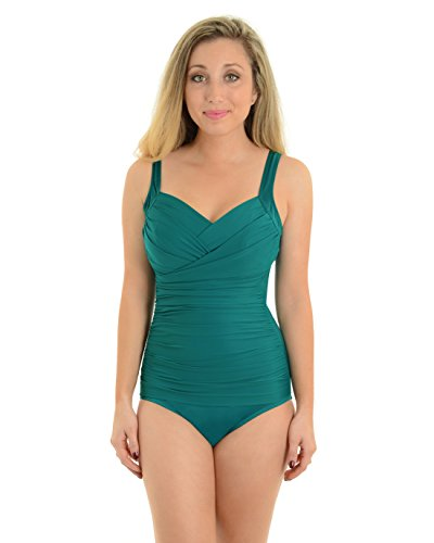 Womens Miraclesuit Swimwear Teal Green One Piece Swimsuit Underwire BathingSuit Sizes: 12