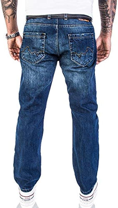 Rock Creek Męskie designerskie dżinsy sprane Used Vintage Look RC-2063: Odzież