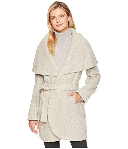 T Tahari Womens Marla Winter Wool Blend Wrap Coat Taupe XL