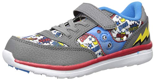 A Girl Superhero (Saucony Baby Jazz Lite Sneaker, Grey/Multi/Superhero, 085 Medium US)