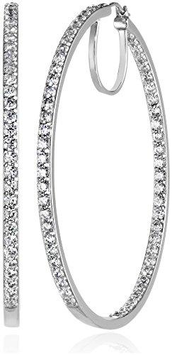 Platinum or Gold-Plated Sterling Silver Swarovski Zirconia Hoop Earrings, 2 Diameter