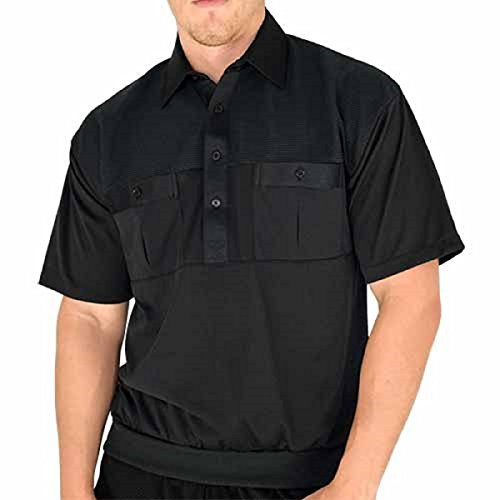 Classic by Palmand 2 Pocket Solid Banded Bottom Polo Shirt (Large, Black)