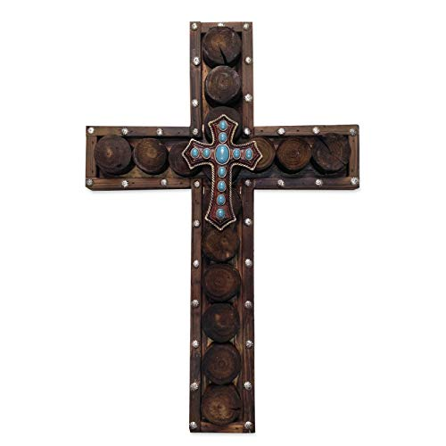(HiEnd Accents Western Studded Wood Cross with Small Cross Overlay)