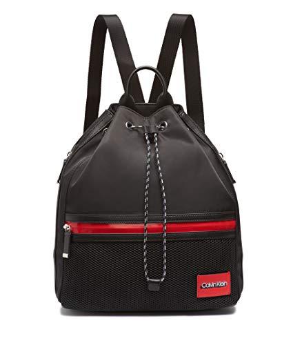 Calvin Klein Whendi Nylon & Mesh Draw String Backpack, Black/Silver