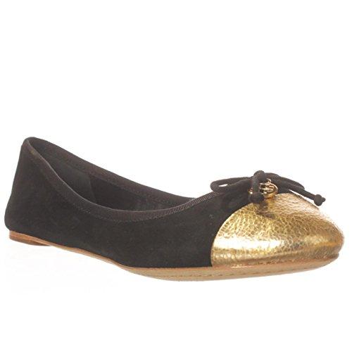 Balletto Tory Burch Chelsea Con Tacco Vertice In Pelle Scamosciata Decorata Oro Nero