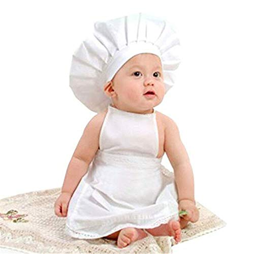 M&G House Baby White Chef Costume Photography Prop, Baby Uniform Costume Photo Props Outfits Hat + Apron Outfit (Fits 6-18 Months)