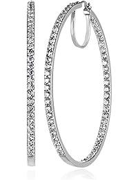 """Platinum or Gold-Plated Sterling Silver Swarovski Zirconia Hoop Earrings, 2"""" Diameter"""