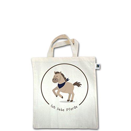 Tiermotive Kind - Ich liebe Pferde - Unisize - Natural - XT500 - Fairtrade Henkeltasche / Jutebeutel mit kurzen Henkeln aus Bio-Baumwolle