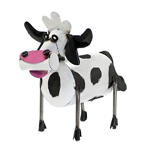 Rustic Arrow Medium Spring Neck Cow for Decor, 15 by 11.5 by 19.5-Inch, Black and White
