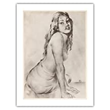 Marion - Topless Hawaiian Girl - from the Book Etchings and Drawings of Hawaiians - Vintage Charcoal on Paper by John Melville Kelly c.1940s - Premium 290gsm Giclée Art Print - 18in x 24in