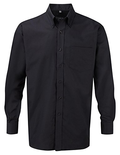 Russell Collection Men's Easy Care Oxford Long Sleeve Shirt Black 16.5