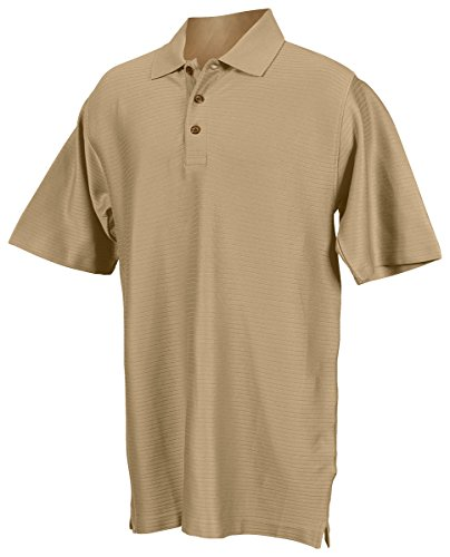 Tri-mountain Double mercerized cotton rib stripe golf shirt. - KHAKI - Small