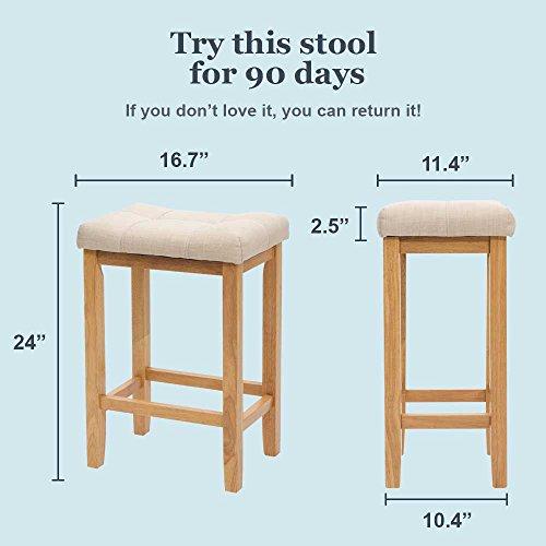 """Nathan James 21103 Hylie Wood Kitchen Counter Bar Stool, 24\"""", Natural"""
