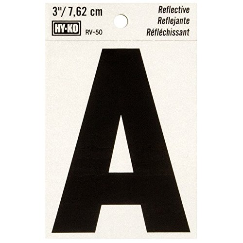 """HyKo Products Co 20407166 Lettering Reflective Vinyl 3"""" (A) - Black On Silver from HyKo Products Co (FLHWR)"""