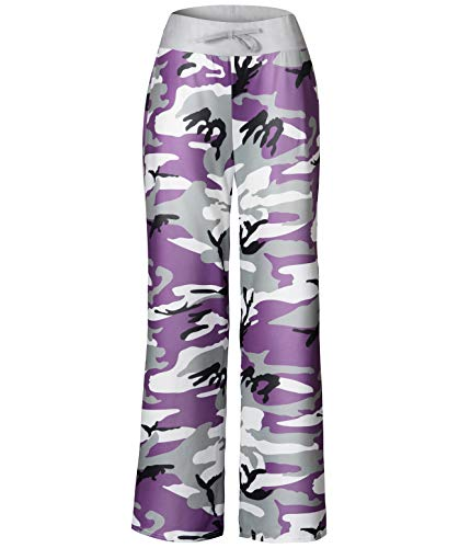 Anyou Womens Palazzo Pants High Waisted Wide Leg Casual Yoga Lounge Pants Size S Camouflage ()