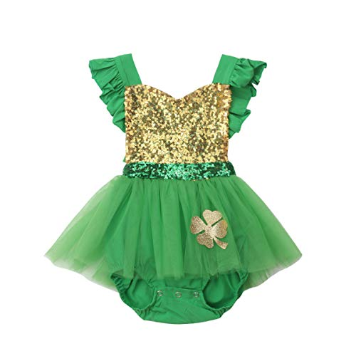 Newborn Baby Girls 1st ST Patrick's Day Green Sequin Romper Dress Ruffled Halter Bodysuit Tutu Dress 0-24M (0-6M, Green) -