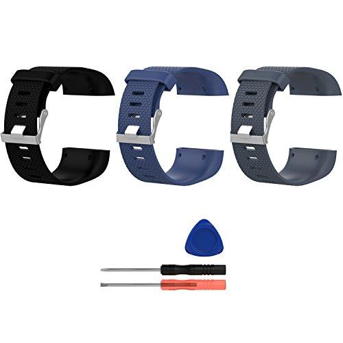 ECSEM Replacement Surge Bands Silicone Band Strap Bracelet for Fitbit Surge SmartWatch -Large 3pcs (3pcs-G)