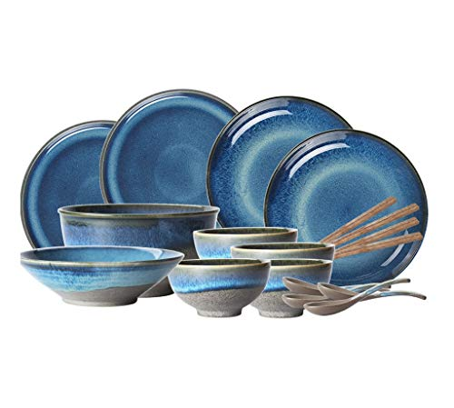 Snack Dip Bowls Dishware Japanese-style Ceramic Tableware, Peacock Blue Kiln Change Home Set Combination Tableware Can Be Used For Dinner Reception Birthday [9 Sets, 18 Sets] kitchen restaurant gifts