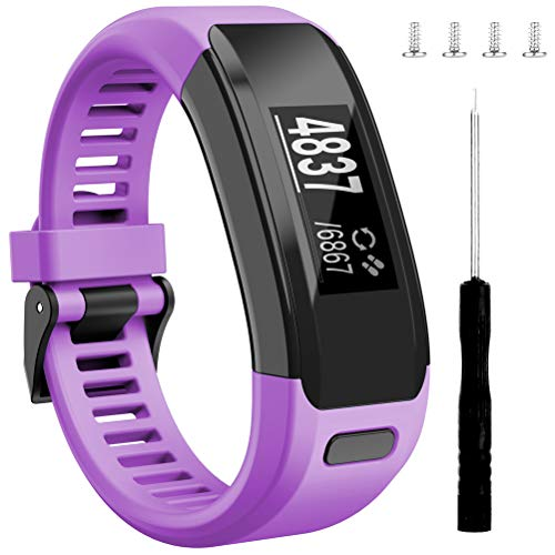 (Wizvv Compatible Bands Replacement for Garmin Vivosmart HR, with Metal Buckle Fitness Wristband Strap,Purple)