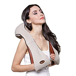 FIVE S FS8801 Deep Tissue 3D Kneading Shiatsu Neck, Shoulder, Back, Leg and Foot Massager Pillow with Heat, Beige