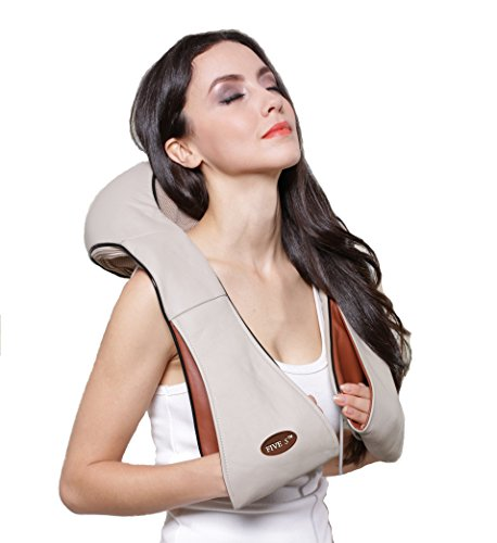 New Five Star FS8801 Shiatsu Neck & Back Massager with Heat - Shoulder - Foot Massager - Kneading Massage Pillow With Heat (Beige)