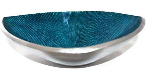 StarZebra Hand Painted Artisan Elegant Blue Serving Bowl - H