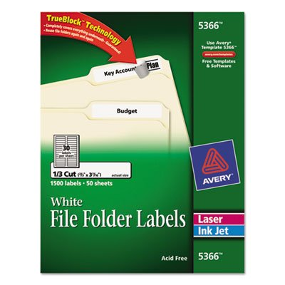Permanent Self-Adhesive Laser Inkjet File Folder Labels - White - 1500 Box - Total 250 SH - Sold as 1 Carton