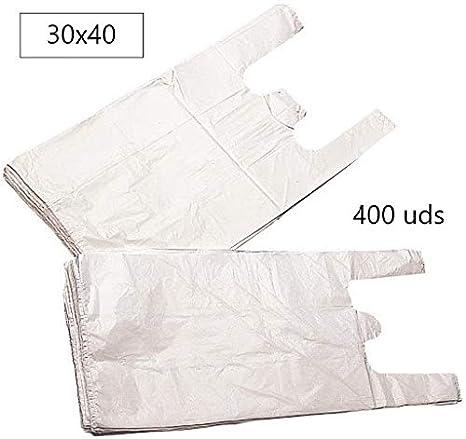EUROXANTY® Bolsas de Plástico Tipo Camiseta | Alta resistencia | Reutilizables y Reciclables | Material Polietileno de Alta Densidad | Con Asas | Apta para Alimentos (Blanco, 30 x 40-400 uds)