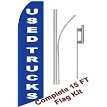 """NEOPlex - """"Used Trucks (Blue)"""" Complete Flag Kit - Includes 12' Swooper Feather Business Flag With 15-foot Anodized Aluminum Flagpole AND Ground Spike"""