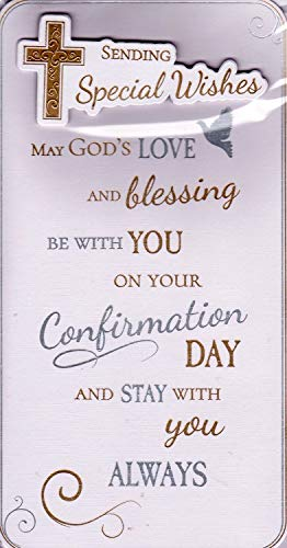 Handcrafted Gold /& Silver Metallic Cross /& Dove 9x4.75 Confirmation Day Greetings Card