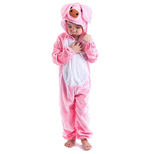 Deluxe Boys Girls Onesie Animal Costume for kids Halloween Attach Shoe Covers ()