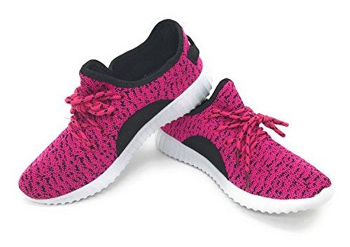 Blå Bär Easy21 Pojkar Och Flickor Andas Mode Sneakers Avslappnad Slip-on Loafers Löparskor, Fuchsia / Svart, 7 M Oss Kvinnor