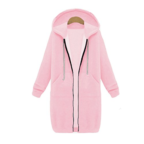Your Gallery Women's Casual Long Hoodies Sweatshirt Coat Pockets Zip up Outerwear Hooded Jacket Plus Size Tops,Pink,Small by Your Gallery