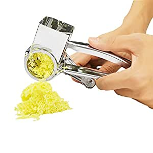Stainless Rotary Cheese Grater, Shredder Cutter Grinder & Vegetable Slicer with 3 Interchangeable Ultra Sharp Drums