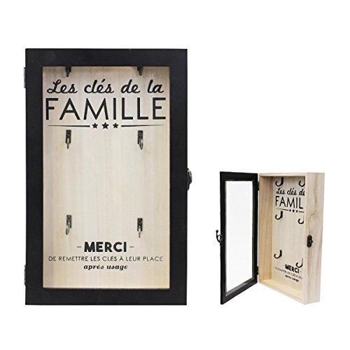 Les Tresors De Lily [Q0789] - Box with yoghurt1008idxx wood 'Message' black beige (the family keywords)(6 hooks)- 30x19x5 cm (11.81''x7.48''x1.97''). by Unknown
