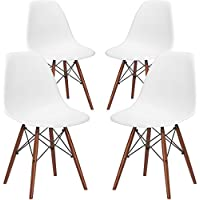Poly and Bark Vortex Side Chair Walnut Legs in White (Set of 4)