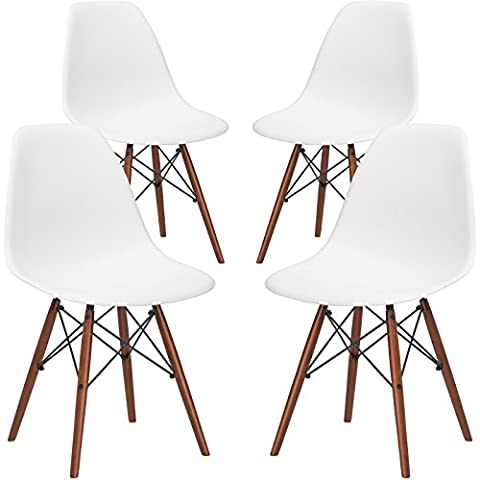 Poly and Bark EM-105-WAL-WHI-X4 Eames Style DSW Side Chair with a Walnut Base (Set of 4), White (Plastic Chairs Set Of 4)