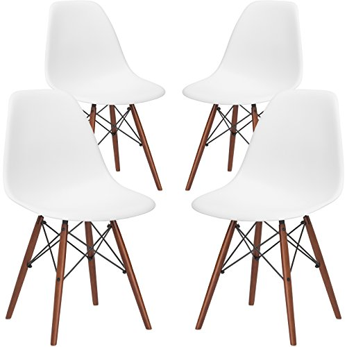 Real Walnut - Poly and Bark Vortex Side Chair with Walnut Legs in White (Set of 4)