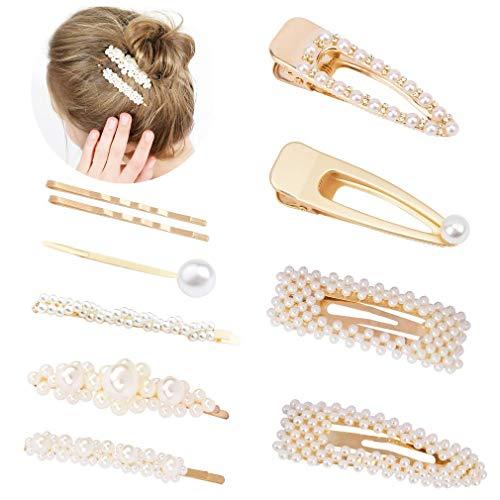 Pearl Hair Clip Set for Women Golden Non-Slip Snap Bling Hairpins Headwear Barrette 10 Pcs