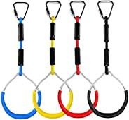 Augustusws Colorful Ninja Line Gymnastic Rings & Swing Bar Rings, Kids Outdoor Backyard Playset Playground