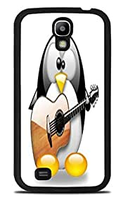 Cute Penguin Playing the Guitar Black Silicone Case for Samsung Galaxy S4