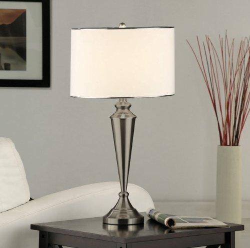 Set of 2 Kings Brand Brush Nickel Metal & Fabric Shade Table Lamps - bedroomdesign.us
