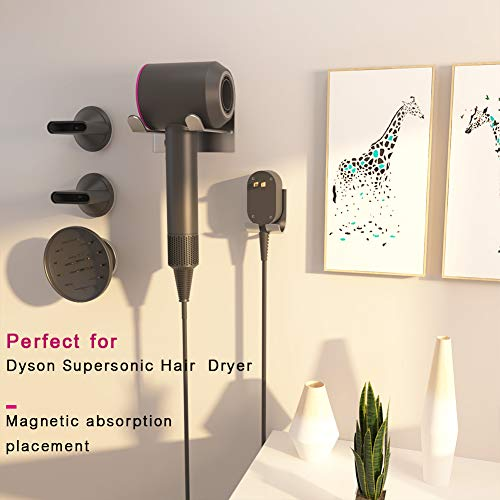 XIGOO Hair Dryer Holder, Self Adhesive Dyson Hair Dryer Wall Mount Holder Compatible Dyson Supersonic Hair Dryer, Brushed, 304 Stainless Steel, Power Plug, Diffuser and Nozzles Organizer by XIGOO (Image #1)