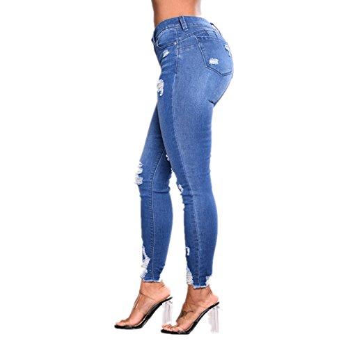 Estiramiento la de Las Popular Grossartig Moda Lápiz de los Vaqueros pies Delgado Mujeres la de Pantalones Alta Cintura Pantalones de Iw6qRU