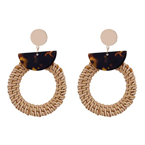 Bohemian Circle Earrings Style Rattan Acetate Board Geometric Earrings Ladies Jewelry ()