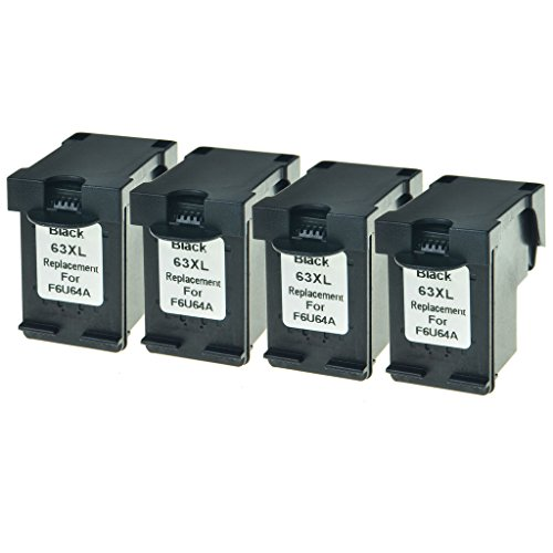 GREENCYCLE Remanufactured High Yield Ink Cartridge Replacement for 63XL F6U64A Black Cartridge use in OfficeJet 4655 4650 3831 DeskJet 3631 2133 2131 ENVY 4522 4516 Printer,4 Pack